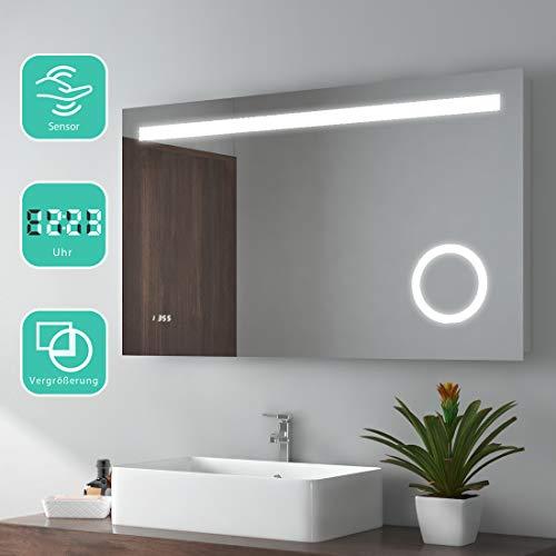 EMKE 100x60cm LED Badspiegel Wandspiegel Beleuchtung Badezimmerspiegel mit 3-Fach Vergrößerung, Sensor-Schalter, Uhr