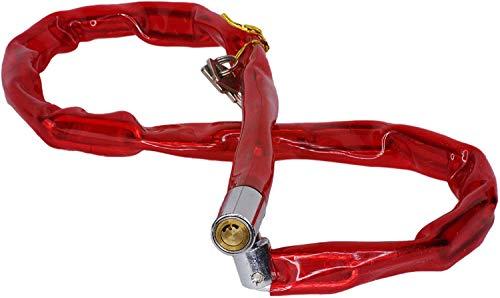 Catena in Acciaio antifurto di Sicurezza per Bici Scooter Moto con Lucchetto n 2 Chiavi Colore Rosso, Blu 4,5 mm x 90 cm