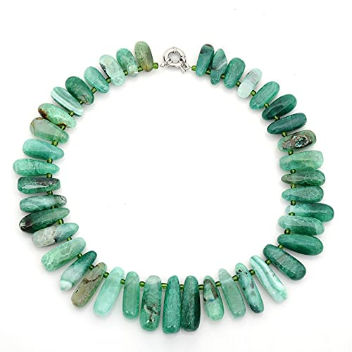 ZhaoZZ Collares Mujer Joven, Cornalina Colgante, Ágata De Piedra Natural, Cadena De Piedra con Forma De Gota Redonda, Colgante De Cristal De Piedra Cruda (Color : Green, Size : 1PCS)