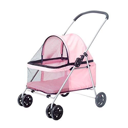 Kinderwagen voor honden, kinderwagen in de open lucht, opvouwbaar, groot, opvouwbaar, 4 ronde schokdempers voor kleine dieren, media.