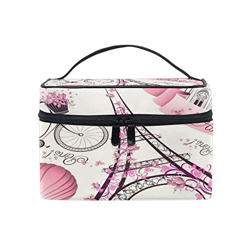 Travel Cosmetic Bag Paris Eiffel Tower Flower Toiletry Makeup Bag Pouch Tote Case Organizer Storage For Women Girls