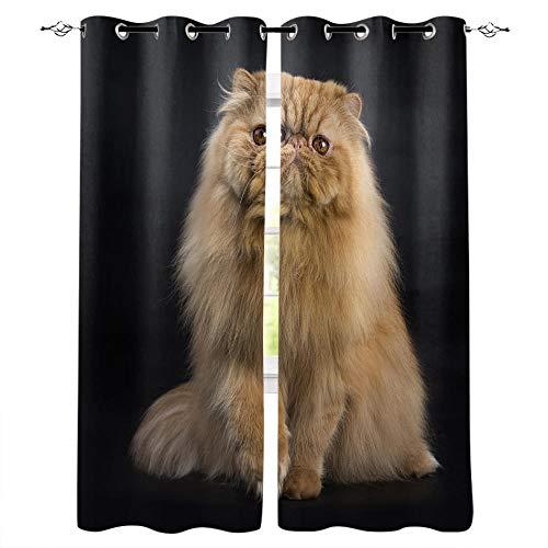 MXYHDZ Opacas Cortinas Dormitorio - Negro Animal Gato - Impresión 3D Aislantes de Frío y Calor 90% Opacas Cortinas - 220 x 215 cm - Salon Cocina Habitacion Niño Moderna Decorativa
