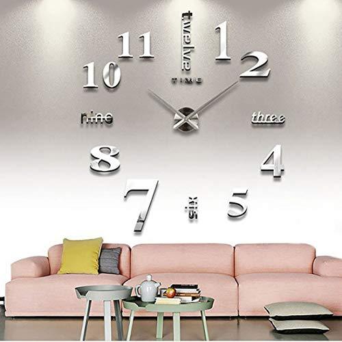 Yiteng 3D DIY 手作り クロック 掛け時計 壁時計 ウォールクロック ウォールステッカー ローマ数字と英語 インテリア シンプル おしゃれ フリー配置 銀