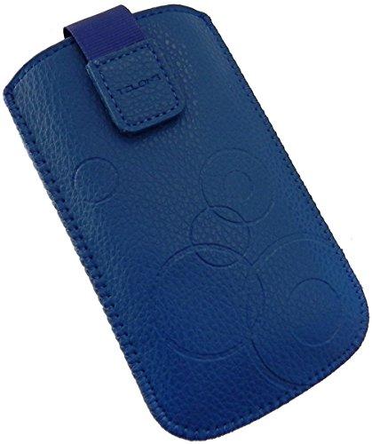 Handyschale24 Slim Hülle für Panasonic KX-TU349 Handytasche Blau Schutzhülle Tasche Cover Etui mit Klettverschluss