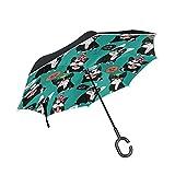Paraguas reversible para perro Bulldog francés reversible para mujer y hombre al revés, a prueba de viento y lluvia, doble capa