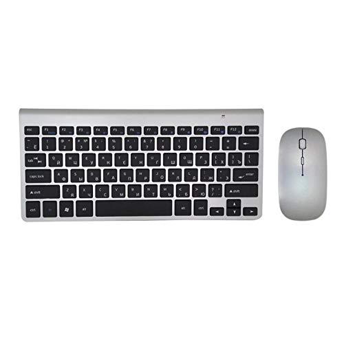 Ys-s Personalización de la Tienda Radio Ultra Delgado Teclado Mouse Combo 2.4G Ratón de Radio para para para para por de Apple Keyboard Style Mac Win XP / 7/8/10 TV Teclado Ruso (Color : KBS MS)