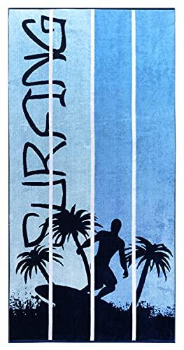 Lashuma Toalla de playa Orlando azul con diseño de surfista y rayas, de terciopelo, 90 x 180 cm