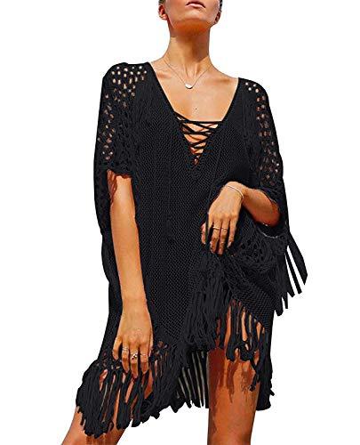 Pareos Playa Mujer Grande Traje de Baño Vestido Crochet Cuello V con Flecos Fiesta Blusa de Bikini Cover Up Bohemia Hippie Chic Vestidos Irregulares Tunica Asimetrica Camisola Verano Camisa Top Ancho