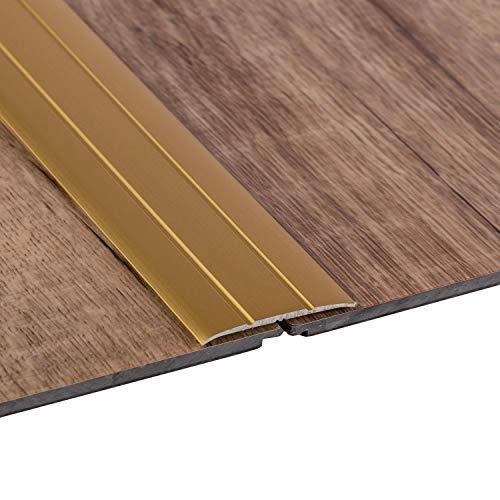 Gedotec Übergangsprofil selbstklebend Übergangs-Schiene Laminat - Vinyl - Teppich UVM. | Boden-Profil flach | Aluminium Messing eloxiert | Länge 100 cm | Breite 37 mm | 1 Stück - Boden-Schiene Alu