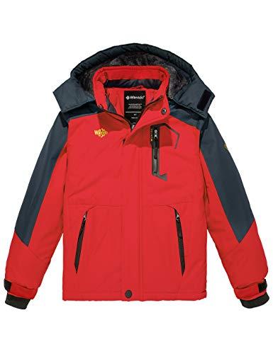 Wantdo Boy's Waterproof Winter Coat Warm Snowboarding Jacket Breathable Outwear Red 14/16