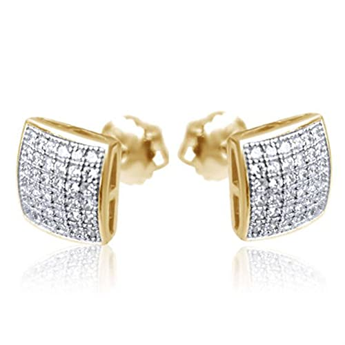 XIALIMY Ohrring Luxus Gold Micro Pave Strass Ohrstecker Hip Hop Eured Out Square Bling Ohrstecker for Hochzeitsschmuck (Metal Color : Earrings)