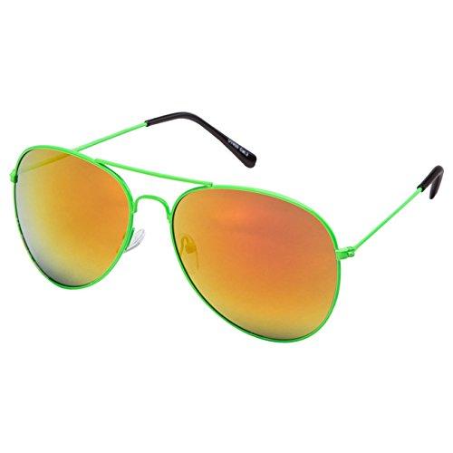 Ciffre EL-Sunprotect® Pilotenbrille Fliegerbrille Sonnenbrille Brille Top Design Neon Grün Feuer Verspiegelt