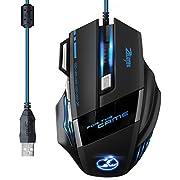 Mouse para jugador Patuoxun® 3200DPI Wired LED, de 7botones para Laptop, PC, colornegro 5500 DPI 7 Button USB Mouse