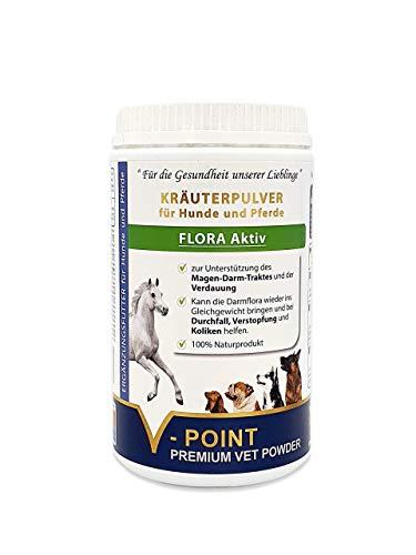 V-POINT Flora Aktiv bei Durchfall Verstopfung und Koliken - Unterstützung von Magen-Darmtrakt und Verdauung - Premium Kräuter-Pulver für Hunde und Pferde Ergänzungsfutter (500 g)