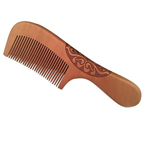 Fait à la Main Corne de Boeuf en Bois Naturel Poire Peigne poignée en Bois Peignes Hair Style Designer Professionnel for Dames Grand Cadeau Peigne d'angle Dents Fines Antistatique F