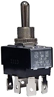 Morris 70111 Heavy Duty Toggle Switch, DPDT, On-Off-On, Quick Connect Terminals, 2 Poles