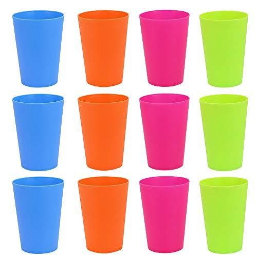 GOLRISEN Vasos Plástico Duro Niños, 12 unids Vasos Plástico Colores, Vasos Reutilizables, 250 ml, sin BPA, Inastillable, Vaso para Agua, Leche, Zumo, Gaseosa, para Cumpleaños Infantiles y Fiestas