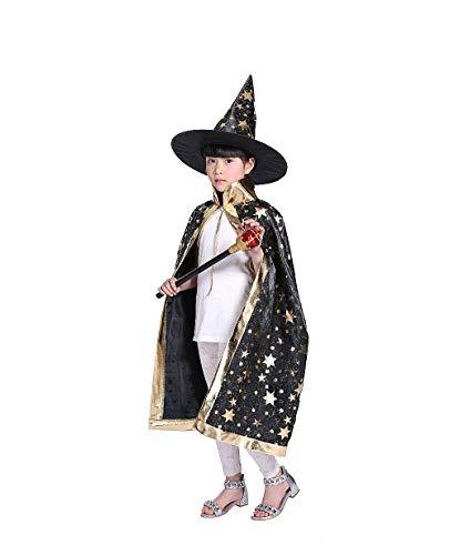 Halloween kostuums heks tovenaar mantel met hoed voor kinderen kinderen jongens meisjes halloween rekwisieten set Zwart