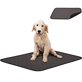 Washable Large Pee Pads for Dogs, 4 Layers Design Waterproof/Soft/Super Absorbing/Anti-Slip Machine Washable Dog Training Puppy Wee Whelping Pad for Home Apartment Crate Travel, 100x67cm Grey