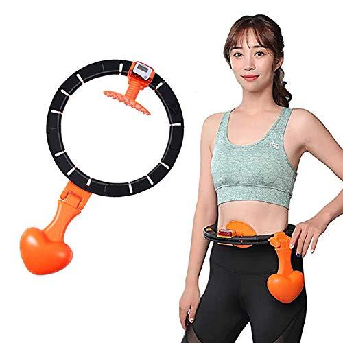 LAIABOR Hula Hoop, Einstellbar Breit Hula Hoop Reifen Fitness zum Abnehmen Massage Training, kein Herunterfallen,Orange,A