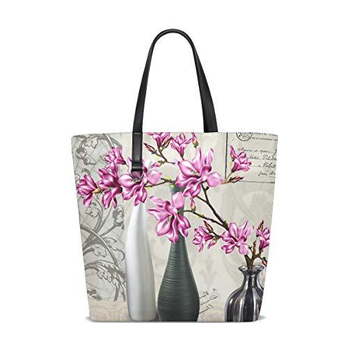 Montoj lila Blumen Vase Strandtasche Tragetasche Damen Handtasche