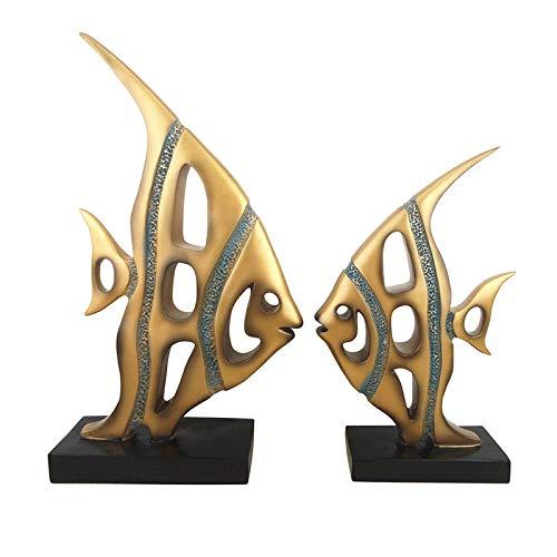 LPQA Escultura Decoración Estatuas Figuritas Decoraciones De Pescado Decoración del Hogar Sala De Estar Gabinete De Vino Decoración del Hogar Artesanías De Resina