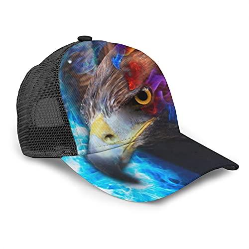 Gorra de béisbol unisex con diseño de águila roja azul fuego cielo verano ajustable empalme Hip Hop Cap Sun Hat