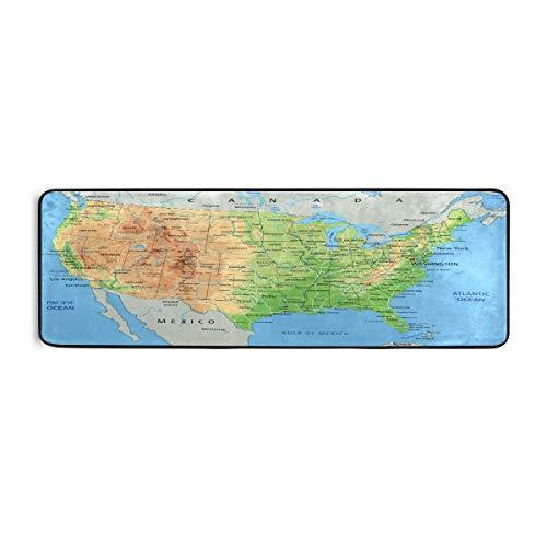 ALARGE tapete de piso de cocina con patrón de mapa del mundo americano antideslizante, alfombra para sala de estar, pasillo, dormitorio, baño, entrada, interior y exterior, lavable, 2 x 6 pies
