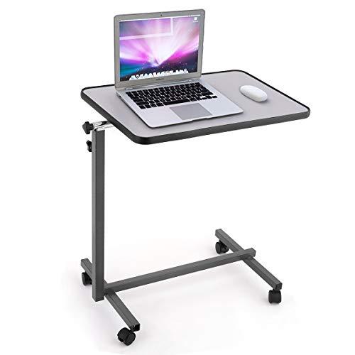 GIANTEX Laptoptisch mit Rollen, Beistelltisch Notebooktisch höhenverstellbar, neigbare Tischplatte, Rolltisch Pflegetisch Betttisch Projektionstisch (Grau)