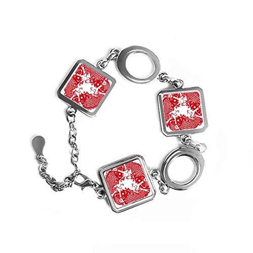 DIYthinker Papier Schneiden von Fisch Festive quadratische Form Metall Armband Love Gifts Jewelry mit Kette Dekoration