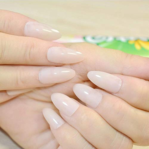 JSIYU Faux ongles Oval Solid Fake Nails Stiletto Full Cover Pointed Pure Color Design False Nail Wear Tips, F133 A
