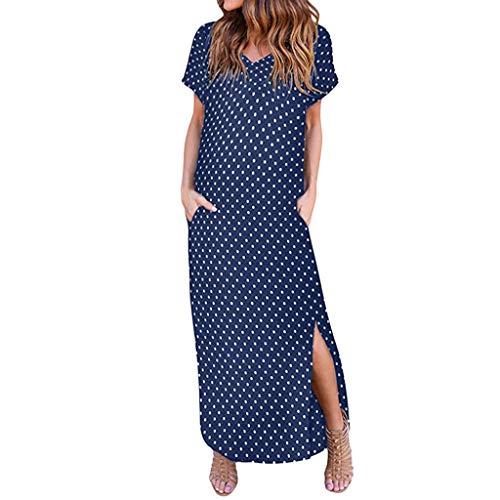 MRULIC Damen Sommer Casual Kleider Strand Vertuschen Split Kleid Langen Badeanzug Blusenkleid Langekleider