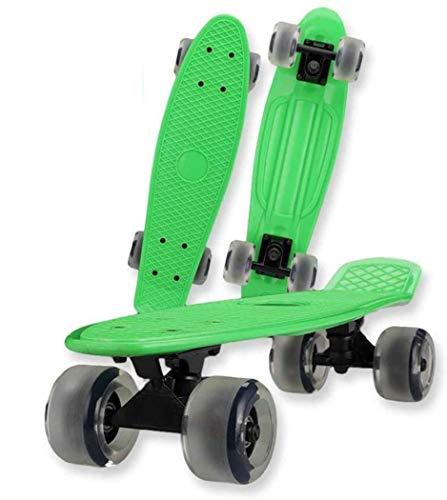 XUDREZ Mini-Skateboard für Kinder, Retro-Skateboard für Kinder, Teenager, Erwachsene, LED-Leuchtrollen (grün 1, mit Licht)