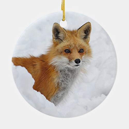 onepicebest Christmas Ornaments,Round Red Fox in The Snow Ceramic Ornament Xmas Gifts Presents, Holiday Tree Decoration Stocking Stuffer Gift