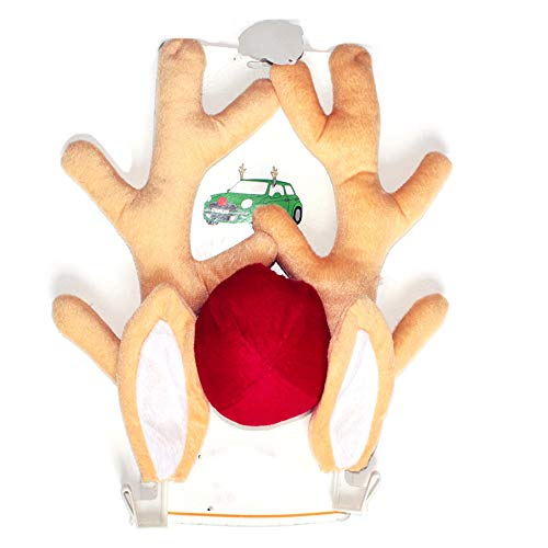 Gaoominy 3PCS Christmas Reindeer Antlers and Red Nose Car Exterior Decoration Antler Ornament for Truck SUV Decor Car Accessories