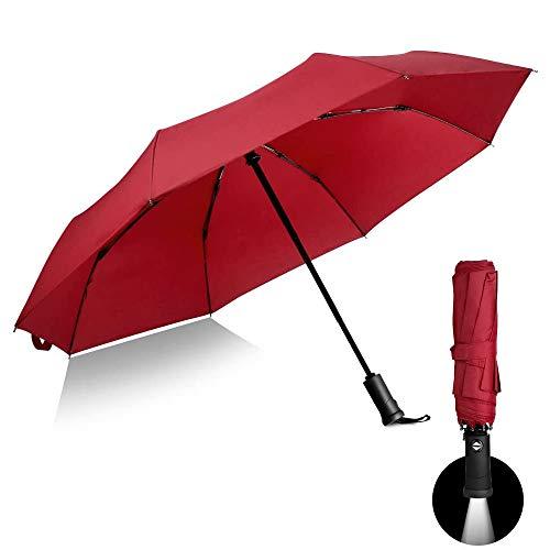 Paraguas automático con mango LED, paraguas reversible reflectante, plegable, protección contra la lluvia y los rayos UV, resistente al viento y al agua (rojo)
