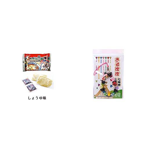 [2点セット] 飛騨高山ラーメン[生麺・スープ付 (しょうゆ味)]・さるぼぼ七福神ストラップ / 縁結び・魔除け //
