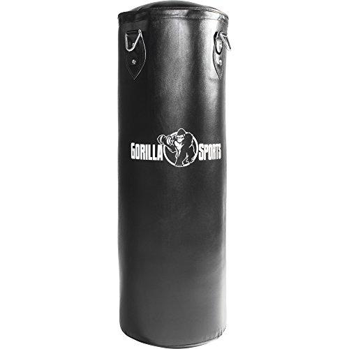 GORILLA SPORTS Boxsack Sandsack schwarz 27-37 kg inkl. Stahlketten Aufhängung für Boxen Kickboxen Thaiboxen MMA Muay Thai Farbe 27 KG