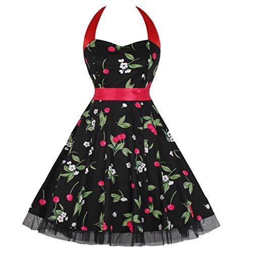 LEXUPE-Robe Vintage Femme Noire à Bretelles Floral Sping Robe De Cocktail Rockabilly Rétro Printemps-été(Noir,Small,Polyester)