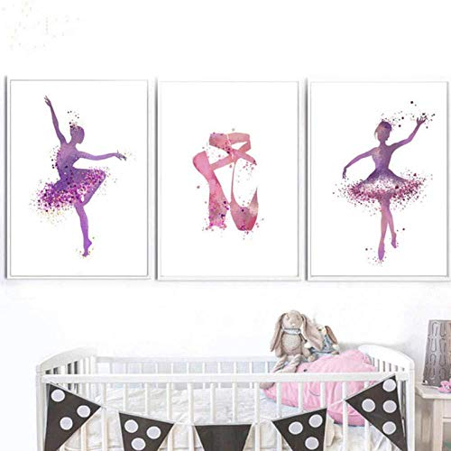 Moderne Ballerina Tänzerin Druck Auf Malerei High Heel Poster Abstrakte Leinwand Malerei Bild Home Wandkunst Graffiti Decor 50x70 cmx3 Kein Rahmen Wanddekoration Gemälde/großes Plakat
