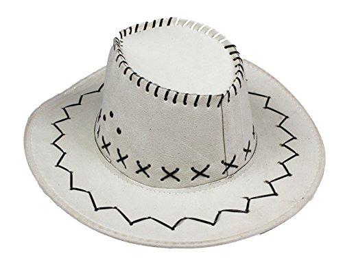 Petitebelle Chapeau de cow-boy de l'Ouest unisexe Costume pour les enfants adultes Halloween Party taille adulte blanc