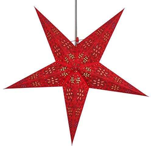 Faltbarer Advents Leucht Stern aus Papier, Weihnachtsstern Anubis rot / Papierstern 5 Zacken