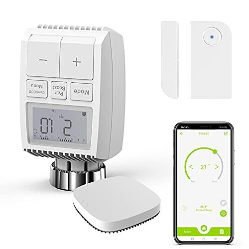 Termostati Termostato intelligente per radiatore ZigBee3.0 AWOW controllo intelligente del radiatore con app WLAN e controllo intelligente del riscaldamento compatibile con Alexa e Google