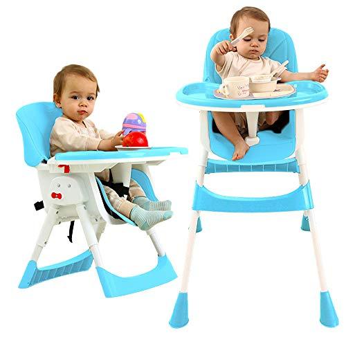 Seggiolone Sedia Pieghevole per Bambini con Seggiolino Regolabile e Tavolo da Pranzo,Seggiolone per Bambini con Cuscino in PU di Sicurezza
