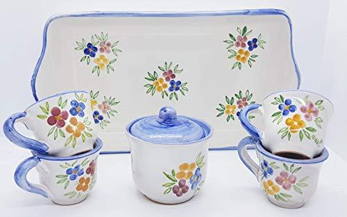 Vassoio Ceramica 4 tazzine da caffè + Zuccheriera Linea Fiori misti Bordo Blu Handmade Le Ceramiche del Castello Made in Italy