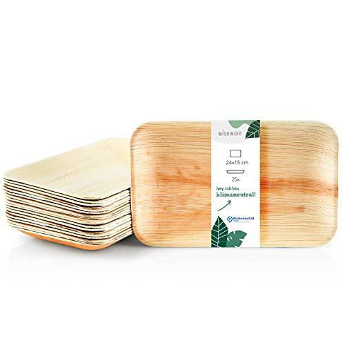 Wiseware Palmblatt Teller - 25 Stück Einwegteller rechteckig 24 x 15 cm - biologisch abbaubares Palmblattgeschirr - kompostierbares Partygeschirr - Bio Einweggeschirr