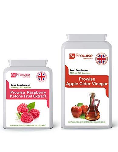 Extracto de fruta de frambuesa 1200 mg-60 cápsulas + vinagre de sidra de manzana 1000 mg-120 cápsulas - Fabricado en el Reino Unido