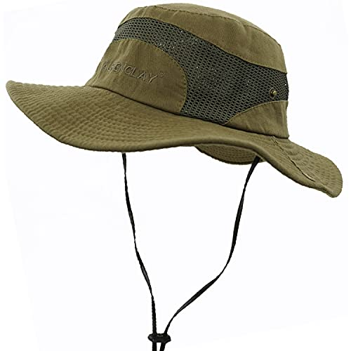 JAOAJ Chapeau de Soleil Homme,Chapeau EtéProtection UV,Pliable Réglable Maille Respirante Safari Chapeau