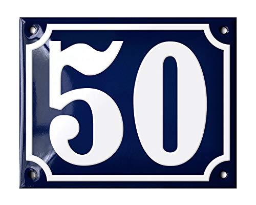Ramsign huisnummers 1 tot 200. Deens design. Prachtig handgemaakt en extreem duurzaam (glasachtig email). 14 x 11 cm. Blauw met witte cijfers Klassiek Number 50 Blauw en wit