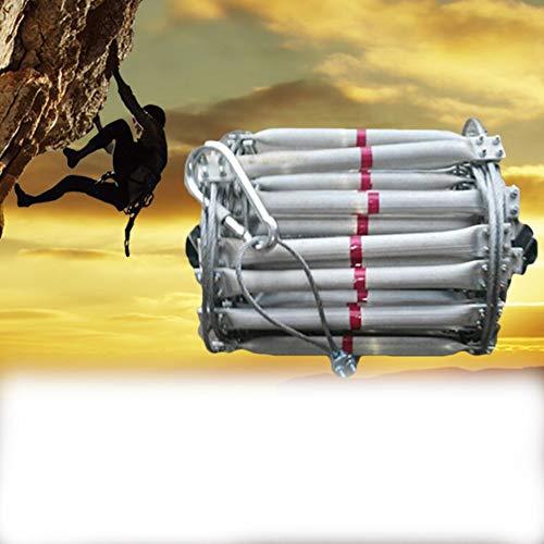 MAHFEI Feuerleiter, Zuhause Strickleiter Rettungsleiter Notfall-Feuerleiter Engineering Ladder rutschfeste Stahldraht-Leitern Aluminiumlegierung Multifunktion Feuerwehr (Color : Silver, Size : 5m)